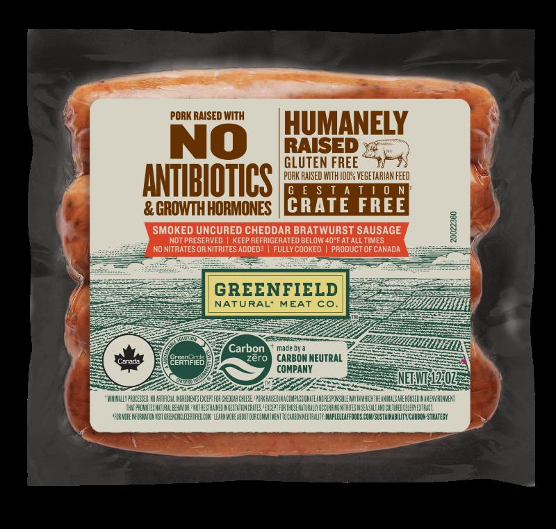 Greenfield Smoked Uncured Cheddar Bratwurst Sausage 120z