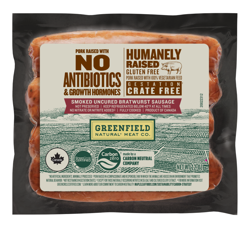 Greenfield Smoked Uncured Bratwurst Sausage 120z