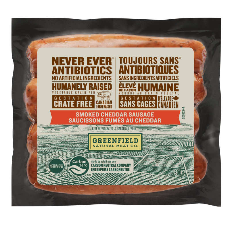 Greenfield Natural Meat Co Smoked Cheddar Sausage/Saucissons Fumes Au Cheddar